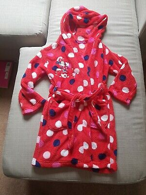 🎀🐭 Disney Store Minnie Mouse Red Spot Fluffy Dressing Gown 5-6Y