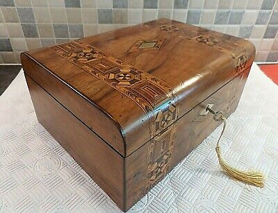 Victorian Tunbridge Ware Figured Walnut Box- Relined Interior + Tray- Lock & Key