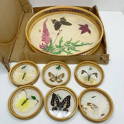 Vintage 7 Piece Set 6 Butterfly Bamboo Coasters w Serving Tray New In Box 1970s