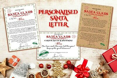 PERSONALISED A4 Santa/Father Christmas Letter & Certificate White or Brown Card