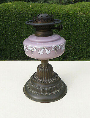 Antique Wright & Butler Lavender Glass Duplex Oil Lamp with Brass Base