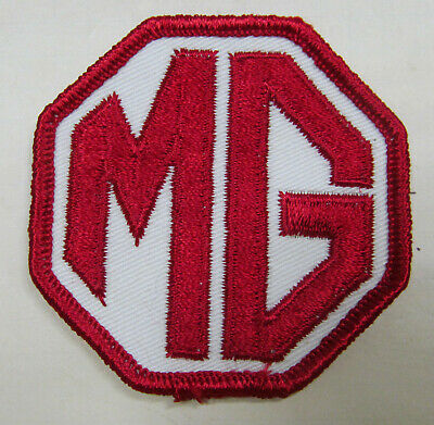 """Vintage Patch - MG - NOS embroidered stitch  red on white background 2.75""""X2.75"""""""