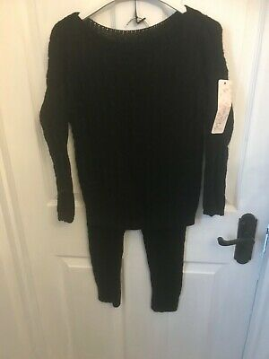 Bnwt girls tracksuit age 6 black knitted  cable last one