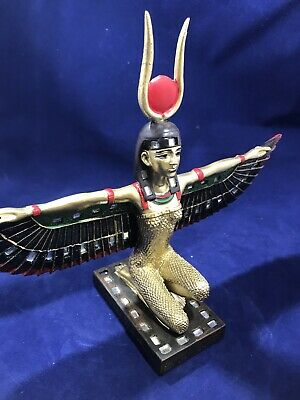 "Egyptian Goddess Of Motherhood Kneeling Isis With Open Wings Statue 9.5"" Wide"