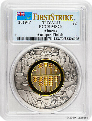 2019-P $2 Tuvalu Abacus 2oz Antique Silver Coin PCGS MS70 First Strike