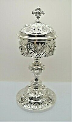 """Beautiful Antique Ornate Sterling Silver Ciborium + Holy Family + 12"""" ht. (B175)"""