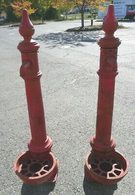 Vintage Pair of Large Red Cast Iron Spigots With Finials
