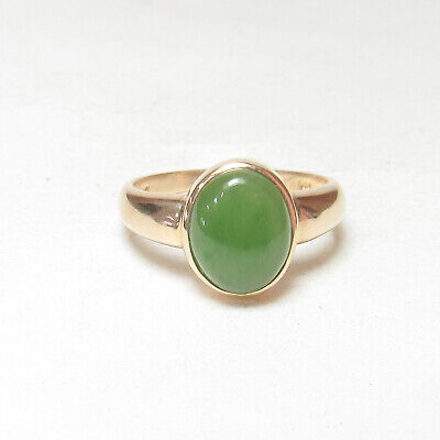 Estate 14K Yellow Gold 2.00 Ct Natural Oval Green Jade Solitaire Ring