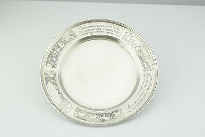 Antique Wilcox & Wagoner ca. 1900 Sterling Nursery Rhyme Baby Child Plate 7""