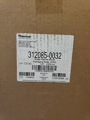 Thermo Scientific 312085-0032 Amber Narrow-Mouth Packaging Bottle, HDPE 50ct...