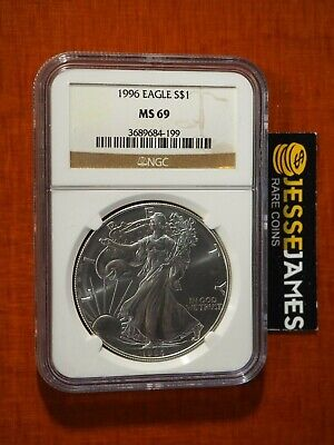 1996 $1 American Silver Eagle Ngc Ms69 Classic Brown Label Key Date!