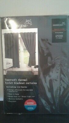 Dreamscene Supersoft Thermal Eyelet Blackout curtains with tiebacks 46 x 54 in
