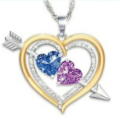 The Arrow Of Love Two Color Mixed 18k Gold Filled  Pendant Necklace Jewelry Set