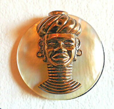 """Vintage MOP Shell Button with applied Escutcheon (F) BRASS AFRICAN Large 1 3/8"""""""