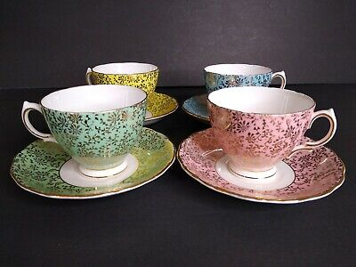 Set of 4 Vintage Tea Cup And Saucer Gold chintz Colclough Yellow Green Pink Blue