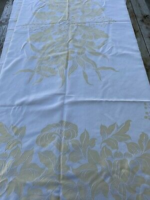 """Cream And Yellow Floral Tablecloth 64x84"""" & 8 20x20"""" Napkins Some Stains"""