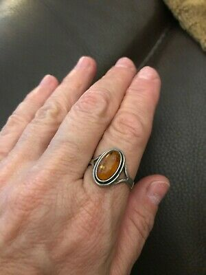 STERLING SILVER ART NOUVEAU Style Baltic Amber Ring - Sz 8 1/4