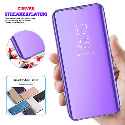 Smart Leather Clear View Mirror Case Cover For Samsung Note 10 8 9 Plus S10 S8 9