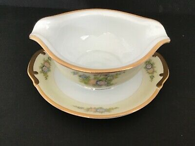 Vintage Meito China Gravy Boat with Attached Underplate Hand Painted Japan