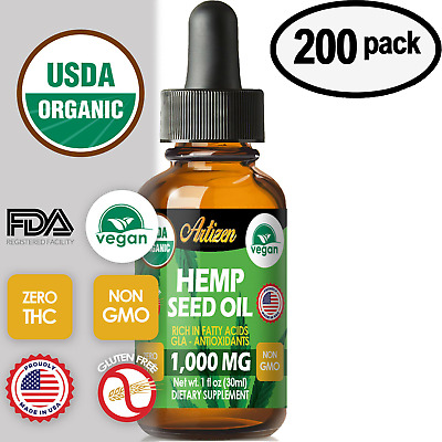 Best Hemp Oil Drops for Pain Relief, Stress, Sleep (PURE & ORGANIC) - 200 PACK