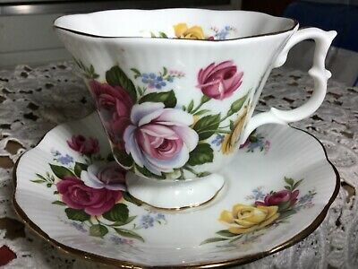 Royal Albert Bone China  Cup And Saucer England.   White,Roses