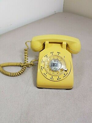 Vintage Western Electric 500DM Yellow Rotary Desk Phone Used Tested Working