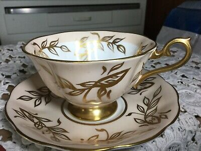 Royal Albert Bone China  Cup And Saucer England.   Peach/Gold Branches