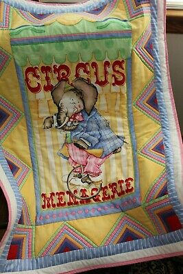 Quilted Baby Quilt,  Elephant, Circus ,Yellow,Green, & More Toddler,  Crib