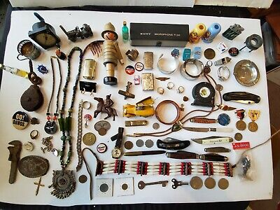 Huge Estate Junk Drawer Lot  Military  Coins Knives Lighters Jewelry Toys Tokens