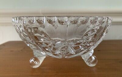 Vtg Ball Foot Bowl American Brilliant Period Cut Glass Heavy, Flower Design