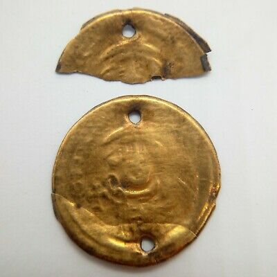 Silver Bracteate Leo III Decoration Badge / Gilding  / Byzantine  717 - 741AD.