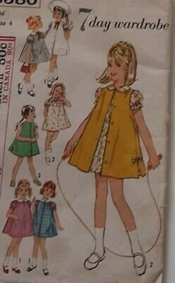 Vintage 60s girls dress and jumper sewing pattern size 4 chest 23 uncut