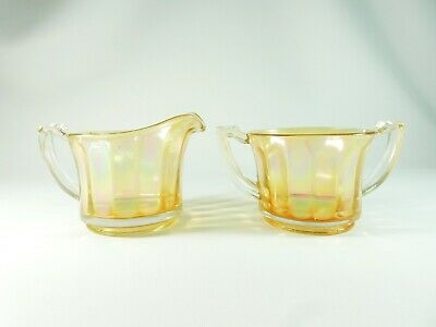 Vintage Retro Carnival Glass Milk Jug Sugar Bowl Set Lot Bulk Clambroth Marigold