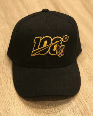 NFL 100th Season Patch Cap Hat 2019 Black & Gold SAINTS STEELERS 100 Anniversary