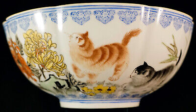 Delicate Eggshell Chinese Porcelain Bowl Signed Cats & Chrysanthemums & More