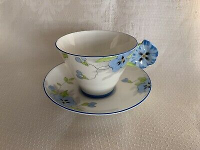 Paragon Blue Daisy Flower Handle Cup & Saucer