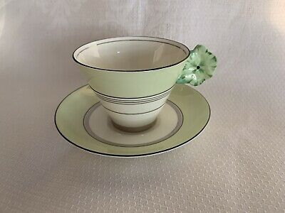 Royal Paragon Green Daisy Flower Handle Art Deco Cup & Saucer