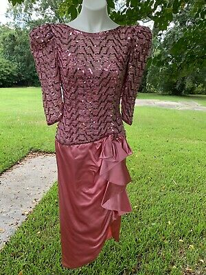 PRETTY IN PINK Vintage 1980s GLAM Prom Dress Evening Satin Hot Big Sleeve Gaudy