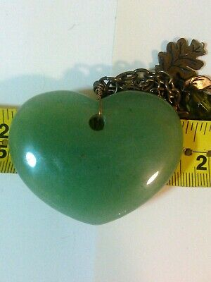 Natural Burmese Green Jadeite Jade Heart Pendant with STURDY BRONZE Necklace