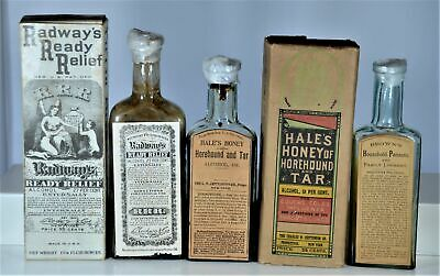 Lot of Three (3) Labeled Patent Medicine Bottles, Two with Boxes