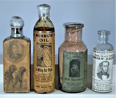 Lot of Four (4) Patent Medicine Bottles with Picture Labels