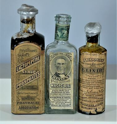 Lot of Three (3) Embossed & Labeled Quack Cure Bottles, Proprietary Med Stamps