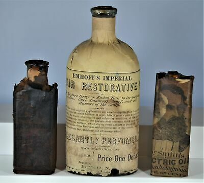 Lot of Three Early Quack Cure Medicine Bottles – Proprietary Medicine Stamps