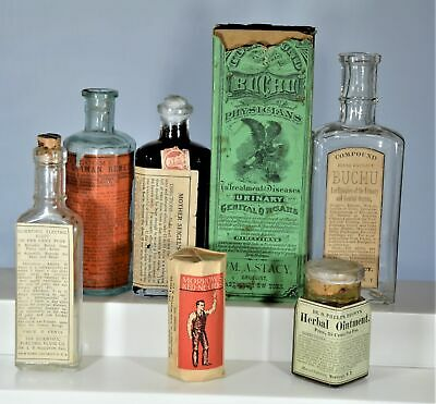 Lot of Six (6) Different Quack Medicine Bottles, Labels, Boxes, Nice Group!