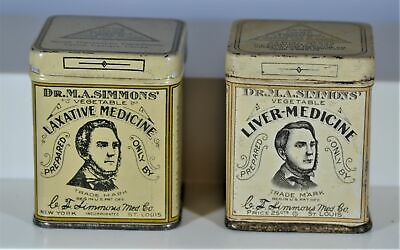 Lot of Two (2) Different Dr. Simmons Quack Medicine Tins, Near Mint Condition