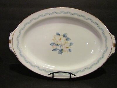 "NARUMI CHINA~Magnolia 17"" HANDLE OVAL PLATTER~Occupied Japan~BLUE/GREEN LEAVES"