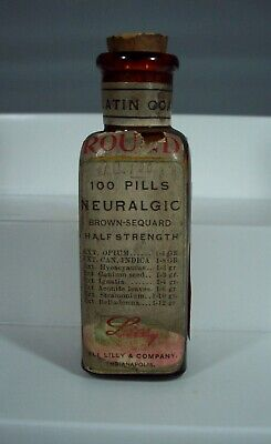 Eli Lilly Neuralgic Pills Bottle, Label, Opium & Cannabis Indica, Empty