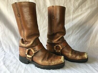 Vintage FRYE HARNESS BOOTS Men's 10D Brown Leather Biker Hand Crafted USA 10