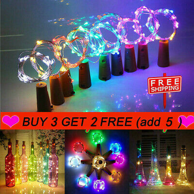 LED Battery Micro Rice Wire Copper Fairy String Lights Bottle Party Stopper Cork