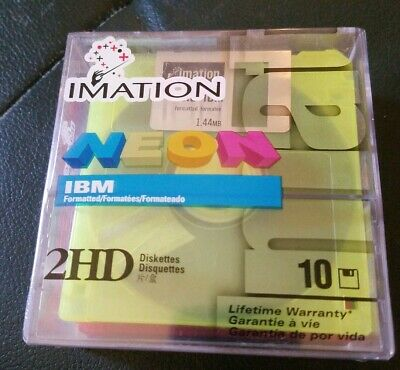 Factory Sealed Imation IBM Neon 2HD Diskettes 10 In Box